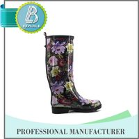Flower Printed Knee rubber wellington boots for woman