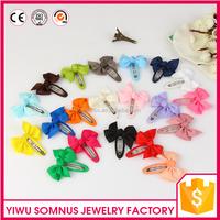 Factory direct wholesale kids hair clips grosgrain ribbon solid color hair bow clip