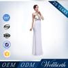 2015 Fashion Illusion Halter Long Maxi Open Back White Maxi Modest Wedding and Evening Dress