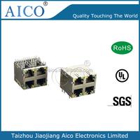 shielded cat6 modular jack 2xN multi port 10/100M