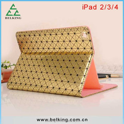 Tablet Leather Case for ipad 4 3 2 with Diamond Design Stand Leather Case