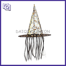 Wholesale Popular Fashion Halloween Costume Gift,Long Tassel Shiny Hat With Halloween Wig for halloween party