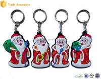 Decorative Custom Soft Pvc Plastic Santa Claus Key Chain