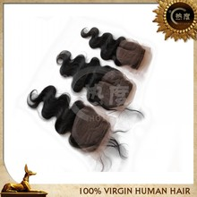 New fashion body wave lace closure in hair extension brazilian hair