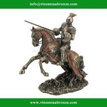 Bronze Jousting Armored Knight with Eagle Emblem Medieval Sculpture