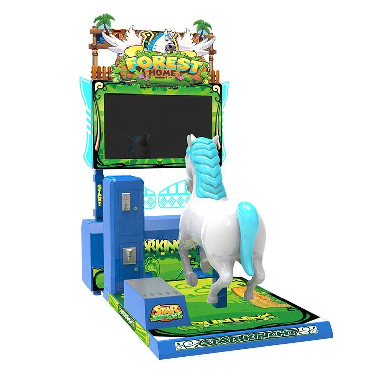 عملة تعمل 3d الحصان سباق لعبة آلة تسلية ألعاب ركوب للأطفال