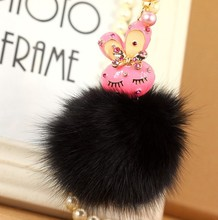 MCH083 Fashion new car keychain handbag charm real pink fox fur ball bunny keyring gift