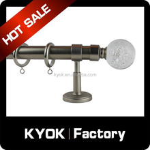 Bathroom decor glass round cast iron rod finials, good quality curtain pole/pipe/tube