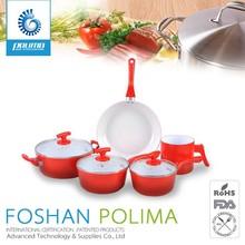 8pcs Healthy & durable porcelain enamel cookware sets wirth vented glass lids