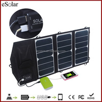 20W sunpower folding solar panel with Dual USB 5V 3.9A quick charger for smartphone , portable sunpower foldable solar panel