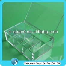 Clear lucite favor box with hinged lids