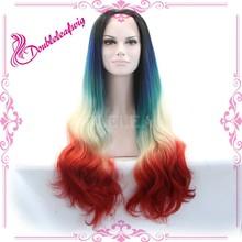 Ombre dark roots wig natural look dark blue wig fashion top beauty wig