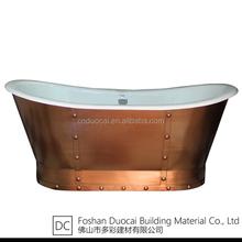 Enamel Cast Iron Roll Top Bath Tub with Copper Skirt (CZ-J021VQT)