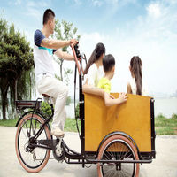 danish new pedal assist bakfiet cheap 3 wheel tricycle cargo bicycle for three people