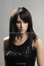 Cheap 100% Virgin Brazilian Glueless Silky Straight Lace Front Wigs With Full Bangs,Swiss Lace cap front lace wig