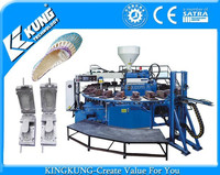 Rotary single color PVC airblowing PCU shoes slipper sandal injection moulding machine