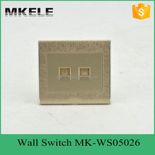 golden color universal electrical tel and computer socket wall outlet ,wall mounted power outlet socket,mini touch switch