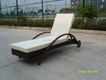 2015 New design Aluminum Sling chair with wheels sun lounger bed