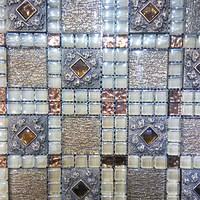 JS glass tile oval mosaic tile mix pattern stone mosaic