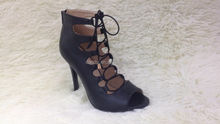 WOMENS LADIES KNEE HIGH CUT OUT HIGH HEEL GLADIATOR SANDALS SUMMER STRAPPY SHOES