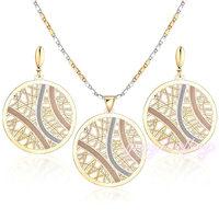 Fashion jewellery 2015 without stone round design18k gold plated jewelry set
