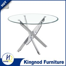 2015 Modern 4 seater glass round simple tempered Glass dinning table and chairs