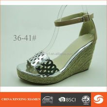 2015 wedge heel shoes with hollow out shinny upper