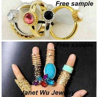 Free Sample Express Shipping 2015 New Fashion Punk Metal Women Jewelrys Rhinestone Ring Set
