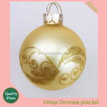 glitter hand decorated golden line Christmas glass ball ornament round