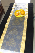 restaurant hotel home decoration recycable bronzing long size organza table runner