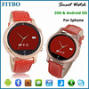 IOS&Android + Leather wristband cheap touch screen watch phone