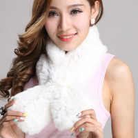 Fed4009DD 2015 new style fashion Rabbit fur scarf with Twill sanhua