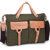waterproof unisex canvas messenger bag with leather trim