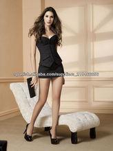 estilo de moda al por mayor corset negro con mini falda
