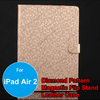 Wholesale Diamond Pattern Smart Cover Leather Case with Mount Stand for iPad Air 2