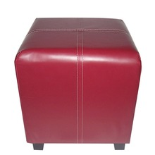 Modern red leather pouf ottoman