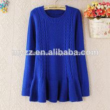 nuevo 2014 de invierno mujer personalizado de lana de punto poncho suéter manga larga color azul