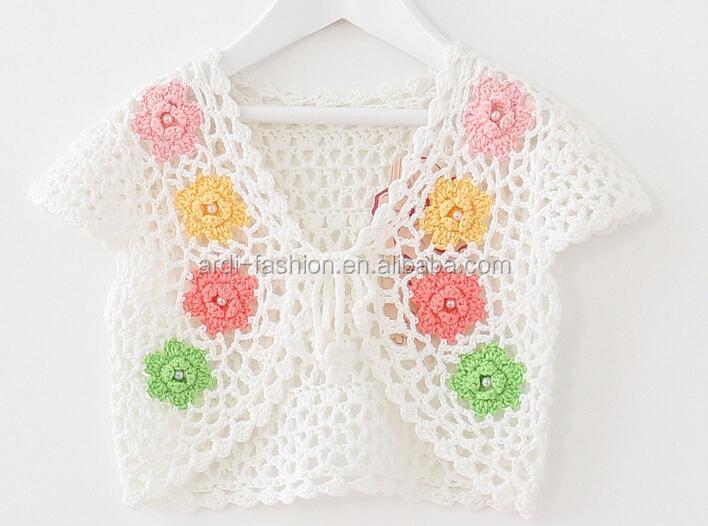 2015 2016 Baby Kids Flower Handmade Crochet Shrug Sweater Shawls