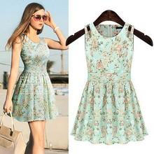 Fashion Women Ladies Smart O-Neck Sleeveless Floral Casual Dress SV022682