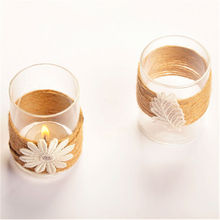 white flower Hemp rope candle holder line candle holder glass