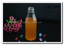 600ml Clear thin glass lemonade bottle with screw crown cap