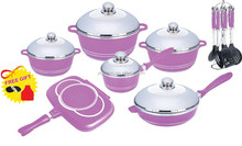 22pcs die-cast aluminum ceramic cookware