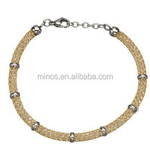Women's Stainless Steel Gold IP Net Bracelet Gems and Polish Finished Clasp