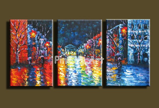 Buy 3 Muti panel abstract modern canvas wall decorative palette Knife oil painting canvas for living room kitchen bedroom decoration cheap