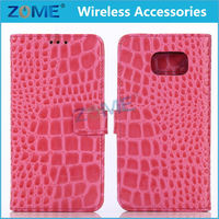 China For Samsung Galaxy S6 Crocodile Pattern Pu Leather Wallet Mobile Phone Case Cover Flip Cover