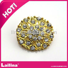 26mm Shining Gold Rhinestone button with shank/flat back for garment