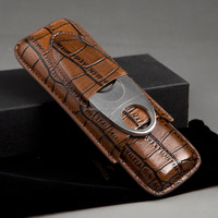 Hot Selling Luxury Cool Brown Croco Leather 2 Finger Cigar Case with Metal Cigar Cutter