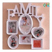 family plastic photo frame with word