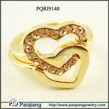 Fashion Gold plated diamond heart shape engagement jewelry ring