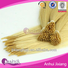Bleach blonde I-tip hair extension with superior quality, Tip hair extension